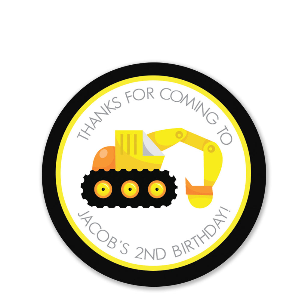 Backhoe Party Favor Stickers, Round