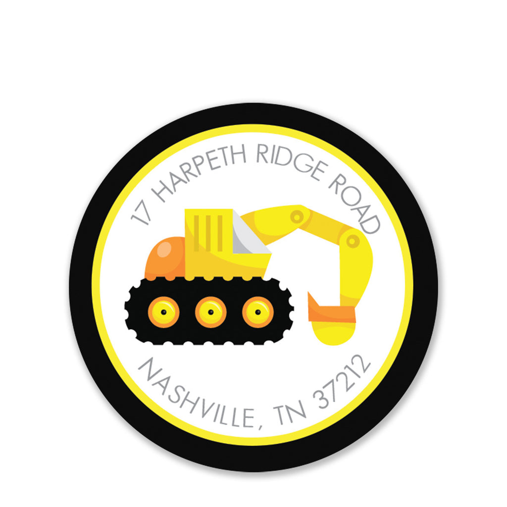 Backhoe Party Return Address Stickers, Round