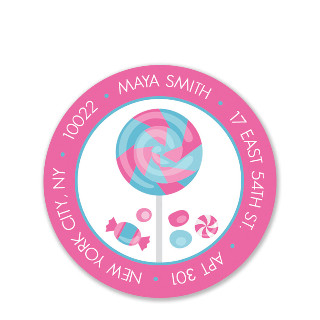 Candy Party Return Address Sticker, Pink
