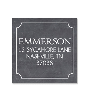 Chalkboard Return Address Sticker | Swanky Press | Square