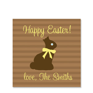 Chocolate Bunny Easter Gift Sticker | Swanky Press | Square