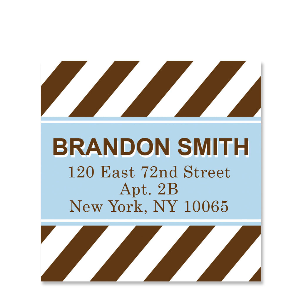 Blue Chocolate Party Return Address Sticker | Swanky Press | Square