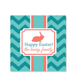 Elegant Easter Aqua Gift Sticker | Swanky Press | Square