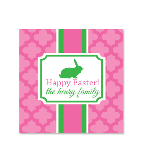 Elegant Easter Pink Gift Sticker | Swanky Press | Square