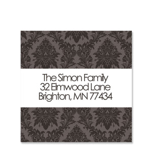 Luke 2:14 Return Address Sticker Damask | Swanky Press | Square