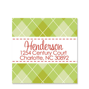 Green Argyle Return Address Sticker | Swanky Press | Square