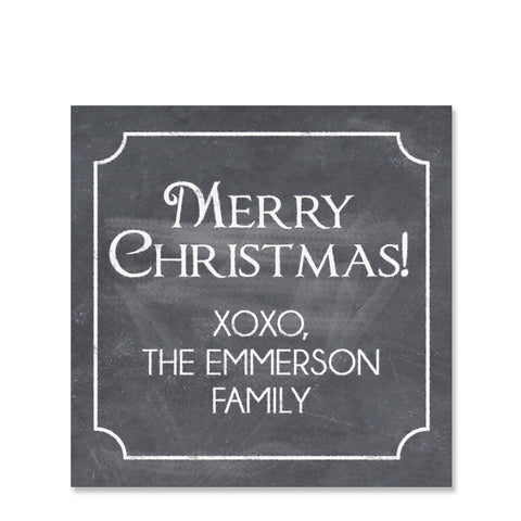 Chalkboard Holiday Gift Sticker | Swanky Press | Square