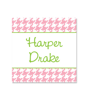 Pink Houndstooth Name Sticker | Swanky Press | Square