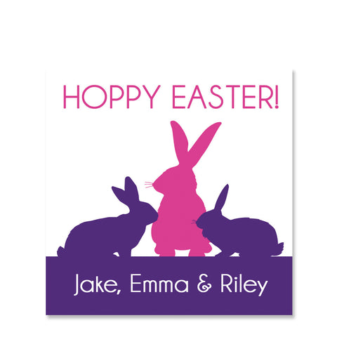 Modern Silhouette Easter Gift Sticker | Swanky Press | Square