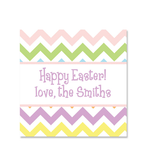 Pastel Chevron Easter Gift Sticker | Swanky Press | Square