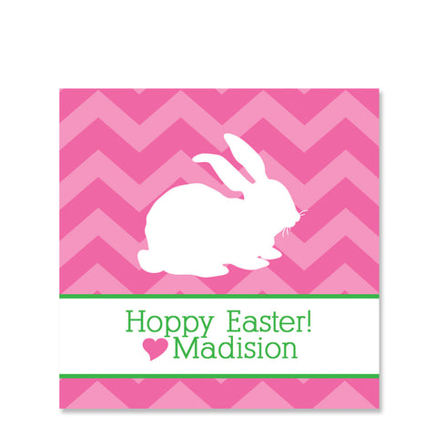 Pink Chevron Bunny Easter Gift Sticker | Swanky Press | Square