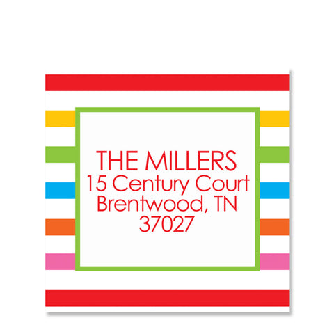 Rainbow Return Address Sticker | Swanky Press | Square