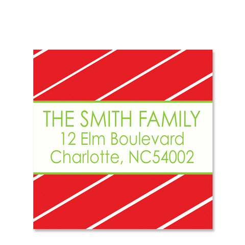 Red Pinstripe Return Address Sticker | Swanky Press | Square
