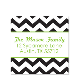 Black & Green Chevron Return Address Sticker | Swanky Press | Square
