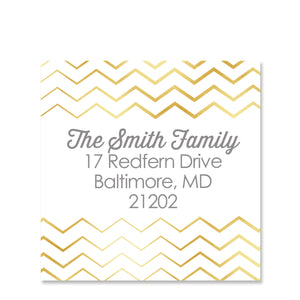 Shiny Chevron Return Address Sticker | Swanky Press | Square