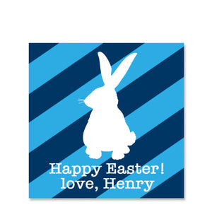 Striped Blue Bunny Easter Gift Sticker | Swanky Press | Square