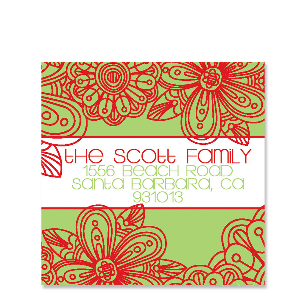 Holiday Blossom Return Address Sticker | Swanky Press | Square