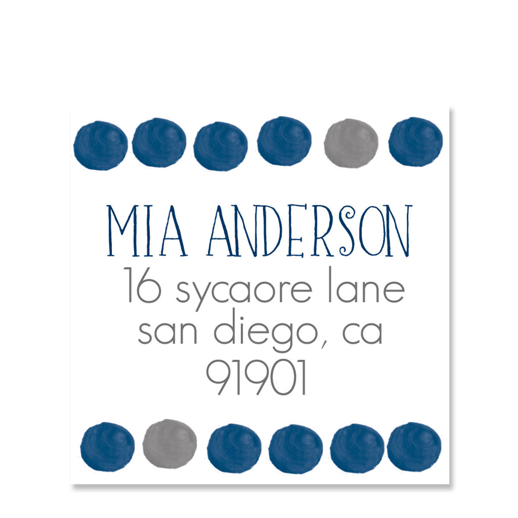 Blue Watercolor Dot Return Address Sticker | Swanky Press | Square