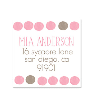 Pink Watercolor Return Address Sticker | Swanky Press | Square