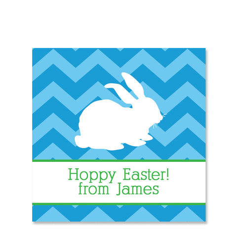 Blue Chevron Bunny Easter Sticker | Swanky Press | Square