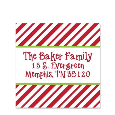 Candy Cane Return Address Sticker | Swanky Press | Square