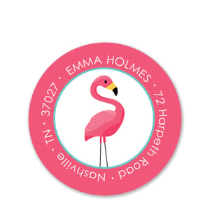 Flamingo Party Return Address Stickers, Pink