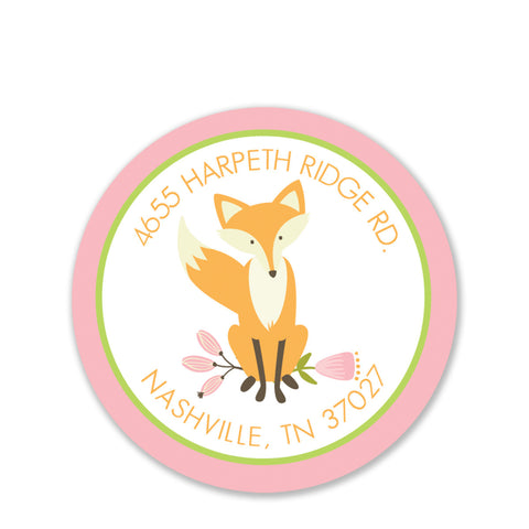 Fox Return Address Stickers, Pink