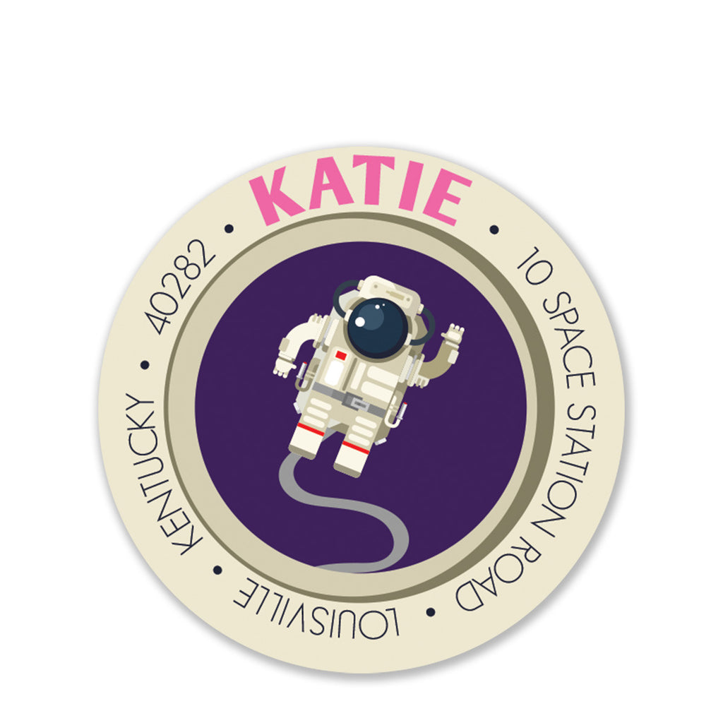 Astronaut Party Return Address Stickers, Purple (Printed)