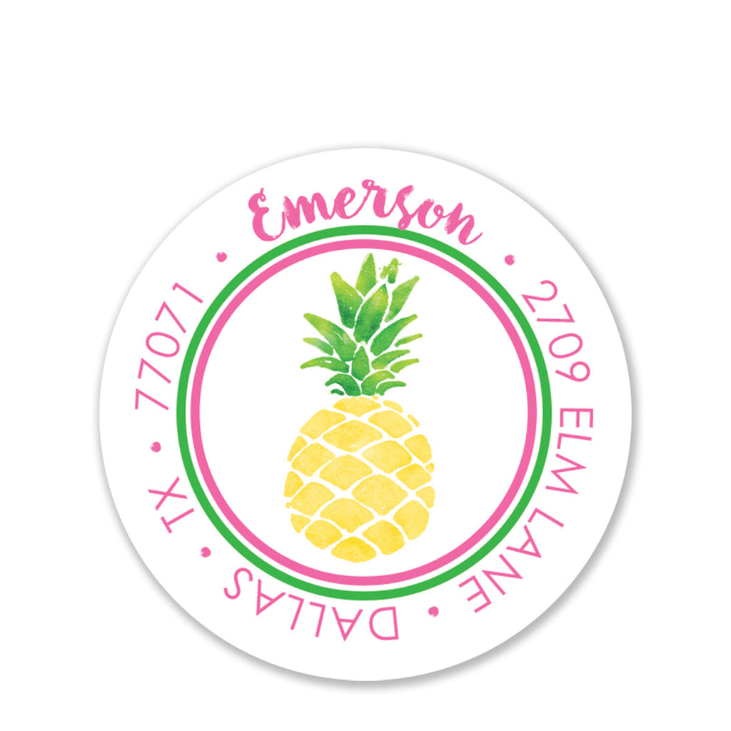 Pineapple Party Return Address Stickers