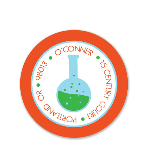 Science Return Address Stickers, Round (Printed)