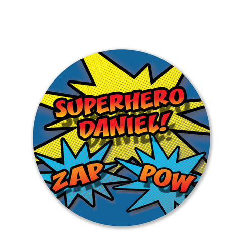 Superhero Round Favor Stickers