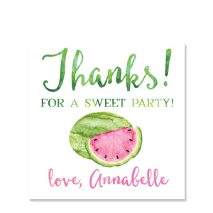 Watermelon Party Gift Tag Sticker, Square (Printed)
