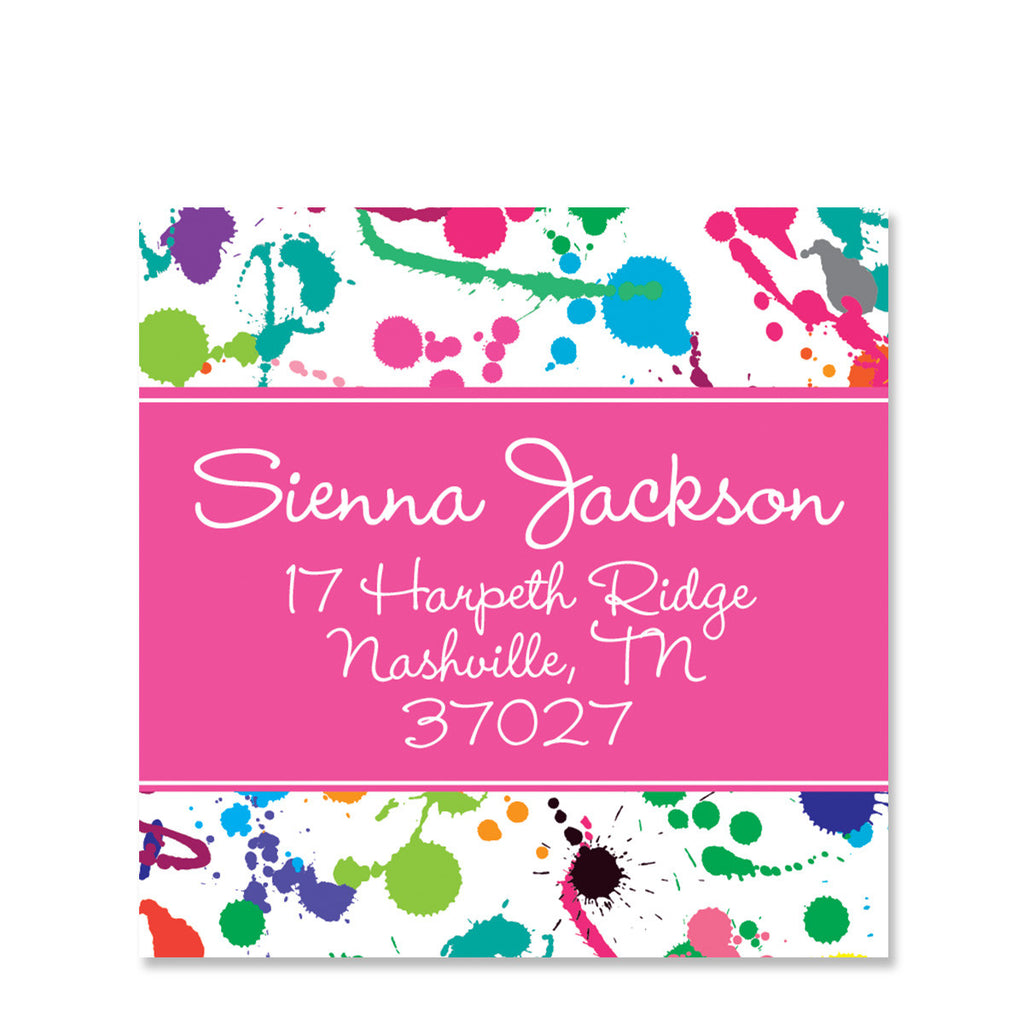 Art Paint Splatter Return Address Stickers, Pink
