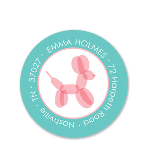 Balloon Animal Return Address Stickers, Pink
