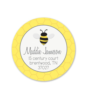 Bee With Honeycomb Return Address Stickers