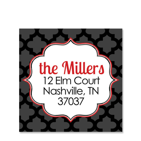 Black Quatrefoil Return Address Stickers