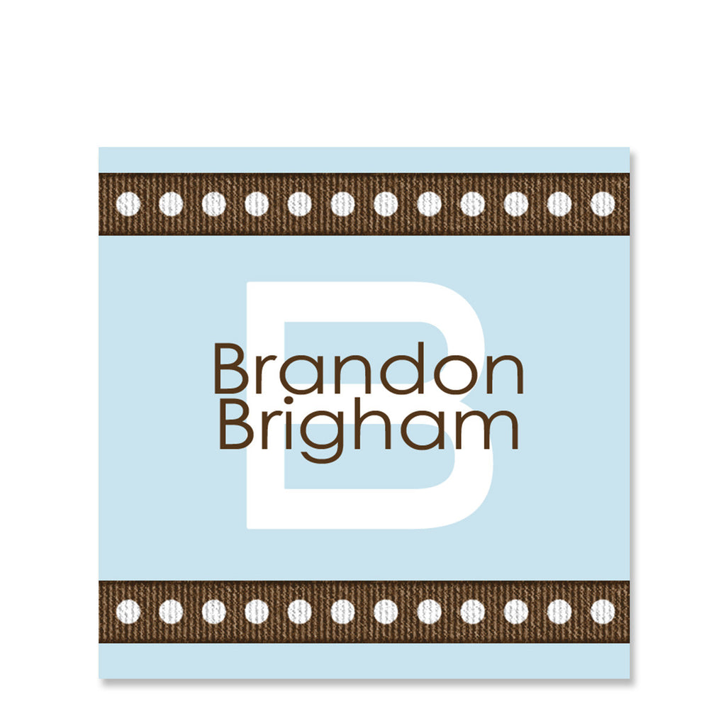 Dotted Ribbon Blue Name Stickers