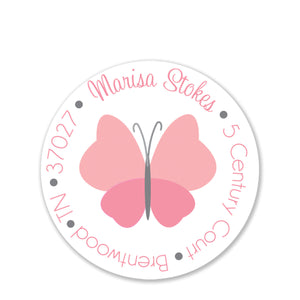 Pink Butterfly Return Address Stickers
