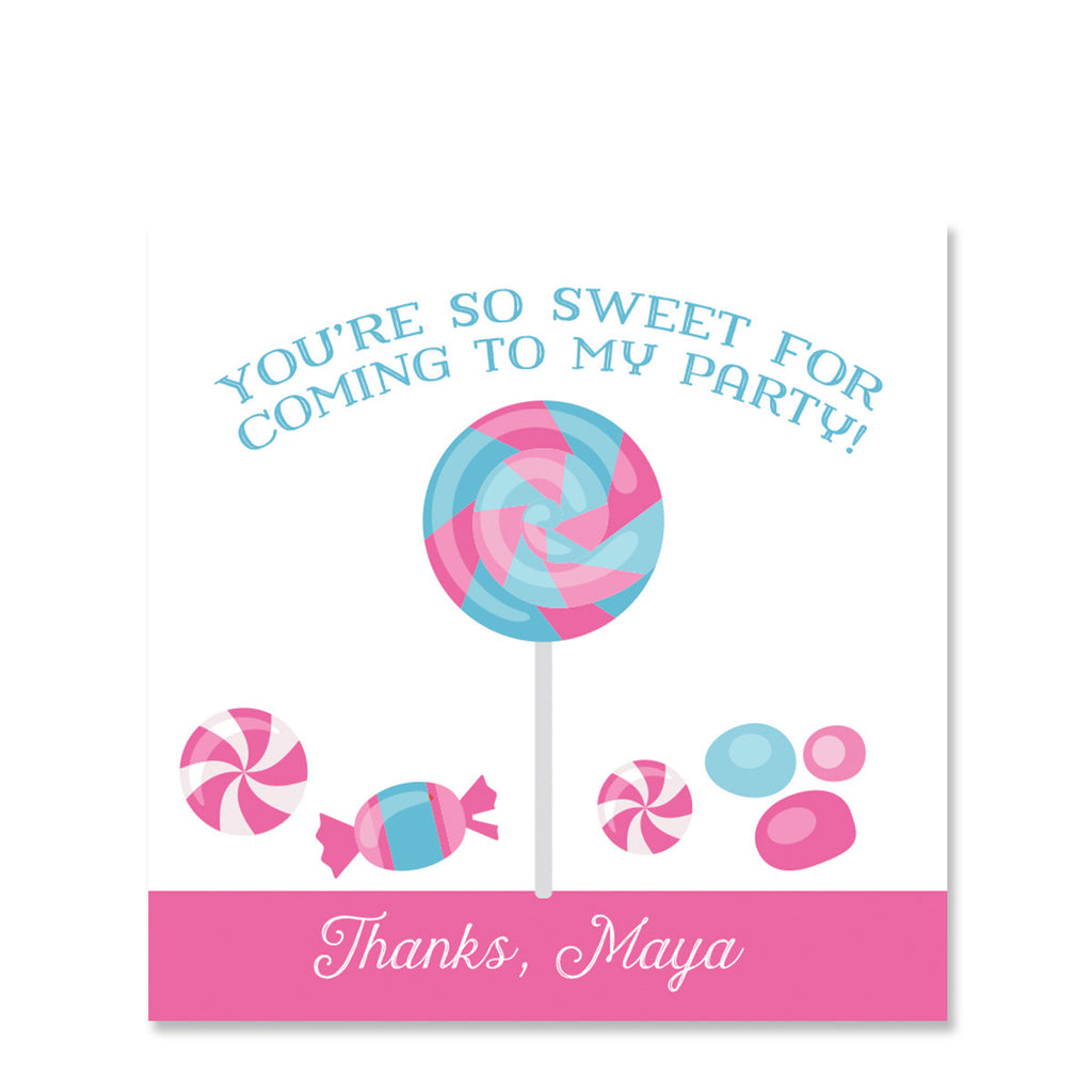 Candy Party Favor Stickers, Pink (Printed)