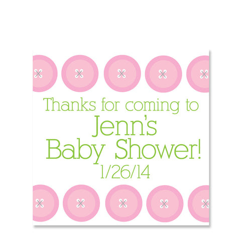 Cute As A Button Pink Party Stickers