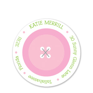 Cute As A Button Pink Round Return Address Stickers