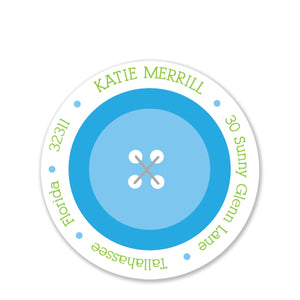 Cute As A Button Blue Round Return Address Stickers
