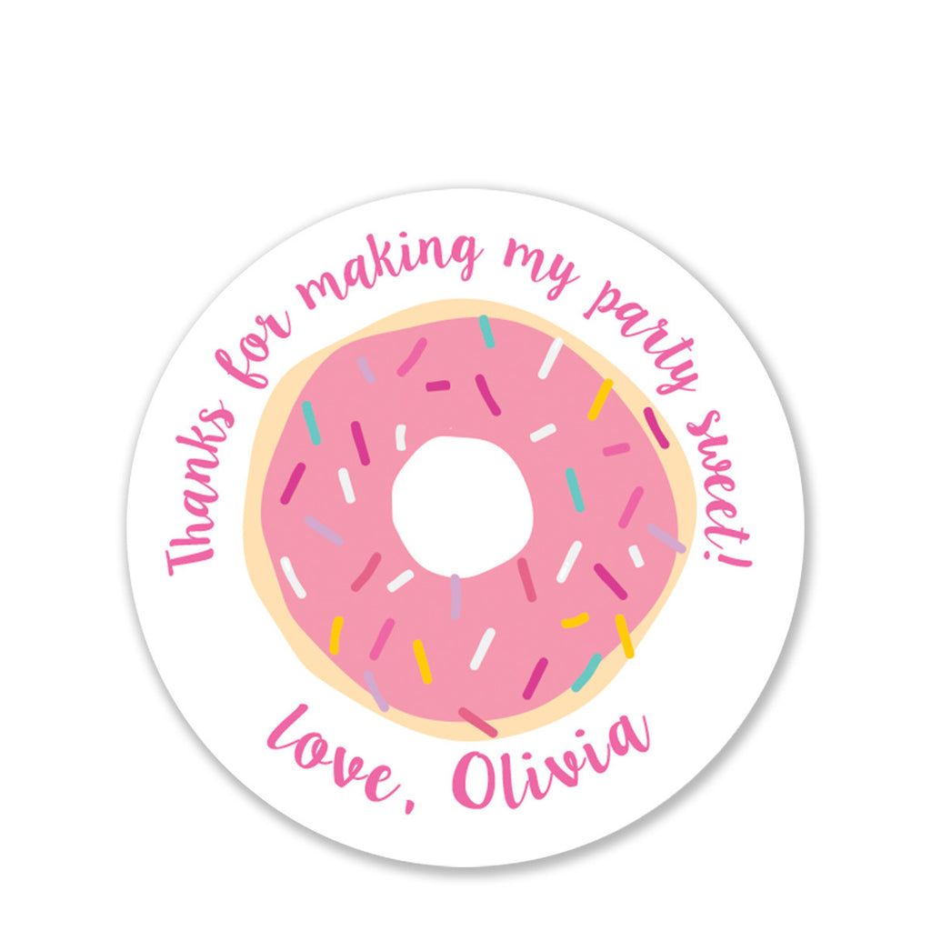 Donut Favor Stickers (Pink)