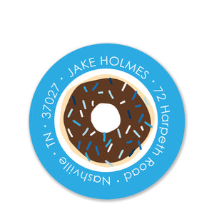 Donut Return Address Sticker (Blue)