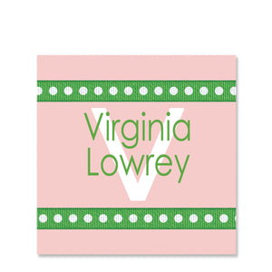 Dotted Ribbon Pink Name Stickers