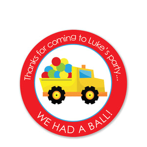 Dump Truck Party With Balls Favor Stickers, Round (Printed)