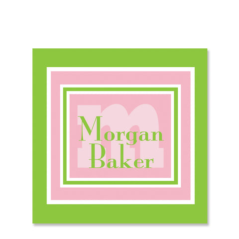 Frames Of Pink And Green Name Stickers