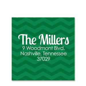 Green Chevron Return Address Stickers Square