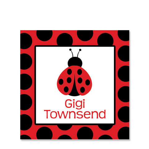 Ladybug Party Favor Sticker, Square