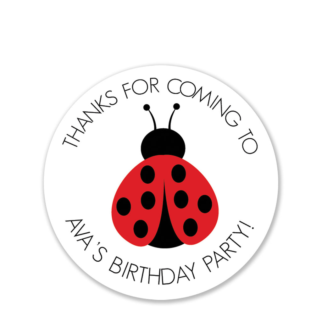 Ladybug Party Favor Stickers, Round